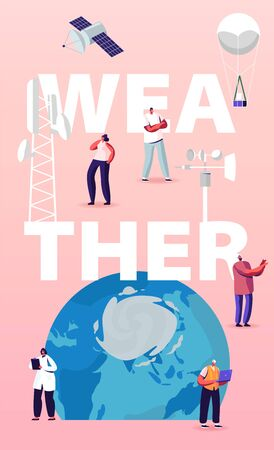 Meteorology Concept. Tiny Characters at Huge Earth Globe. Workers Set Up Equipment for Weather Control, Anchorman Forecast Broadcasting on Tv. Poster Banner Flyer. Cartoon People Vector Illustration Illustration