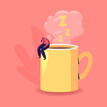 Lazy, Boring or Tired Businesswoman with Low Energy Sleep at Huge Coffee Cup. Female Character Sleeping on Working Place. Fatigue, Procrastination Overwork Burnout Concept. Cartoon Vector Illustration
