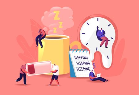 Fatigue Concept. Tiny Male and Female Exhausted Characters at Huge Coffee Cup, Liquid Watches of Salvador Dali, Low Battery Power and Sheet with Sleep Writing. Cartoon People Vector Illustration