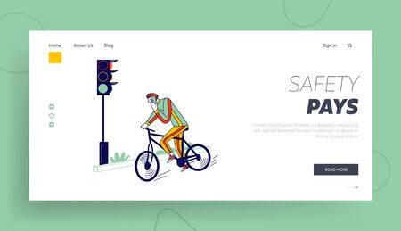 Human Carelessness Landing Page Template. Careless Biker Character Riding Bicycle on City Road Speaking by Smartphone Ignoring Traffic Light. Danger, Harmful Gadget Impact. Linear Vector Illustration Illustration