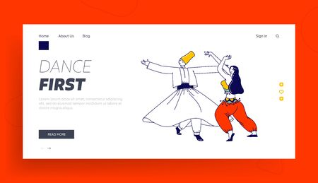 Arabic Dance Landing Page Template. Whirling Dervish in Traditional Outfit and Girls in Arab Dress Dancing with Raising Hands. Characters Moving Body, Muslim Artist. Linear People Vector Illustration