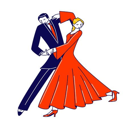 Dance Leisure, Sparetime, Performance or Hobby. Young Couple Dancing Waltz or Tango. People Active Lifestyle, Man and Woman Dancers Partners Characters Spend Time Together. Linear Vector Illustration 向量圖像