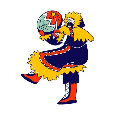 Eskimo Shaman, Character of Northern Minorities Jump with Tambourine and Amulets Dancing Magical Dance. Caster and Magician Chukchi, Inuit Communicate with Spirit World. Linear Vector Illustration