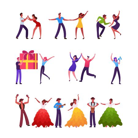 Set of Male and Female Characters Dancing Samba on Brazil Carnival. Mexican or Spain Men and Women Dance, Playing Guitar, People Giving Gifts Isolated on White Background. Cartoon Vector Illustration