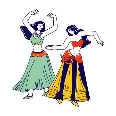 Girls in Beautiful Arabic Dresses and Jewelry Dancing Belly Dance with Raising Hands. Harem Women Characters Swirling Arms and Moving Body in Dance, Artist Hobby. Linear People Vector Illustration
