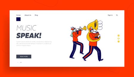 Victory Parade Celebration Landing Page Template. Military Orchestra Playing Musical Instruments Trumpet and Trombone Musician Characters Walking with March. Linear People Vector Illustration