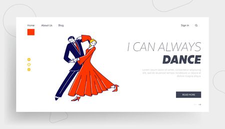 Dance Leisure, Sparetime, Performance or Hobby Landing Page Template. Couple Dancing Waltz or Tango. People Active Lifestyle, Dancer Partners Characters Spend Time Together. Linear Vector Illustration
