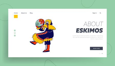 Eskimo Shaman Landing Page Template. Character of Northern Minorities Jump with Tambourine and Amulets Dancing Magical Dance. Magician Communicate with Spirit World. Linear Vector Illustration