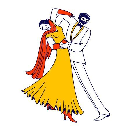 Young Couple Dancing Waltz or Tango. People Active Lifestyle, Man and Woman Dancers Partners Characters Spend Time Together. Dance Leisure, Sparetime, Performance or Hobby. Linear Vector Illustration