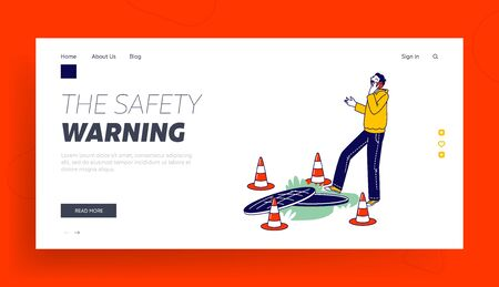 Harmful Gadget Impact Landing Page Template. Human Carelessness, Unmindful Male Character Step into Road Manhole Speak by Smartphone Ignoring Traffic Cones. Danger on Road. Linear Vector Illustration