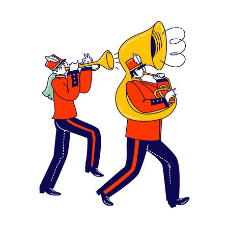 Military Orchestra Playing Musical Instruments Trumpet and Trombone Isolated on White Background. Victory Parade Celebration, Musician Characters Walking with March. Linear People Vector Illustration
