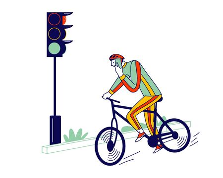 Careless Biker Male Character Riding Bicycle on City Road Speaking by Smartphone Ignoring Traffic Light. Human Carelessness Concept, Danger on Road, Harmful Gadget Impact. Linear Vector Illustration