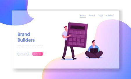 Digital Transformation, Roi, Return on Investment or Money Refund Concept Landing Page Template. .Businesspeople Characters with Calculator and Laptop Working. Cartoon People Vector Illustration
