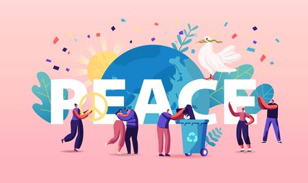 International Day of Peace Concept. Tiny Characters Hugging, Throw Out Gun to Litter Bin around of Earth Globe and Huge Dove Carrying Leaf Branch Poster Banner Flyer. Cartoon Vector Illustration