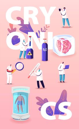 Modern Cryonics Technology Concept. Scientist Characters Develop Futuristic Hibernation Equipment, Cryogenic Camera with Sleeping Human Inside. Poster Banner Flyer. Cartoon People Vector Illustration Illusztráció