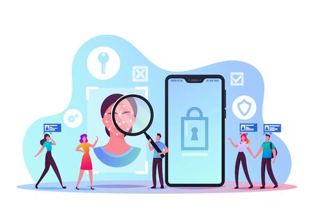 Facial Recognition Technology Concept. Tiny Male and Female Characters Scanning Face Id on Smartphone. Identification of Person Through System of Verification. Cartoon Vector People Illustration