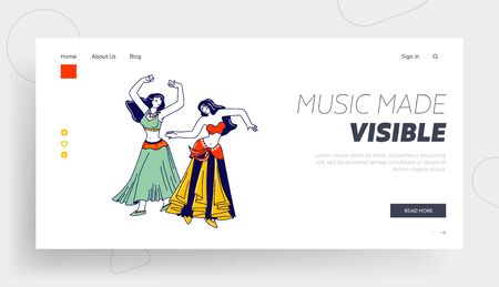 Belly Dance Landing Page Template. Girls in Beautiful Arabic Dress and Jewelry Dancing with Raising Hand. Harem Women Characters Swirling Arms and Move Body in Dance. Linear People Vector Illustration 向量圖像