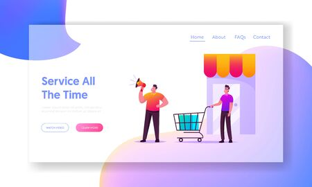 Customer Journey Landing Page Template. Alert Advertising Campaign, Pr Promotion. Man Character Shouting to Loudspeaker, Buyer with Shopping Trolley at Store. Cartoon People Vector Illustration Иллюстрация