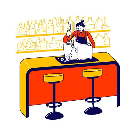 Bartender Character Split Ice Block to Prepare Cool Cocktail Drinks. Barman Breaking Huge Clear Iced Cube on Parts Using Pick. Professional Bar Staff Working Occupation. Linear Vector Illustration