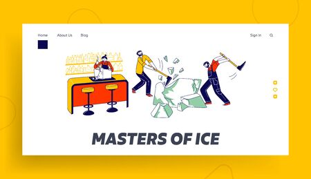 Characters Breaking Ice Landing Page Template. Bartender Splits Iced Block for Cocktails, Men Hitting Ice Cube with Pickaxes for Delivering in Pubs and Restaurants. Linear People Vector Illustration