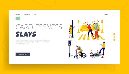 Characters Carelessness while Use Smartphones Landing Page Template. Men, Women, Teenagers Chatting and Communicate Using Gadgets Crossing Road, Walking on Street. Linear People Vector Illustration