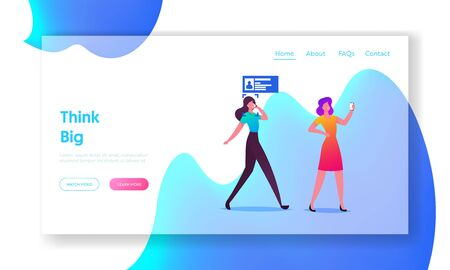 Facial Recognition Landing Page Template. Female Characters Scanning Face on Smartphone for Id Verification or Biometric Data Scanning. Security, Digital Technology. Cartoon People Vector Illustration