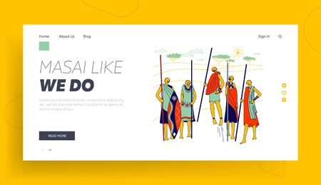Masai African Characters Landing Page Template. Africa Group of Warriors from Samburu Tribe in Kenya Wear National Costumes with Spears Demonstrate Traditional Jumps. Linear People Vector Illustration