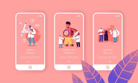 Chicken Pox Varicella Symptoms Mobile App Page Onboard Screen Template. Tiny Doctor Characters with Stuff at Huge Boy with Red Pimples on Body, Immunization Concept. Cartoon People Vector Illustration