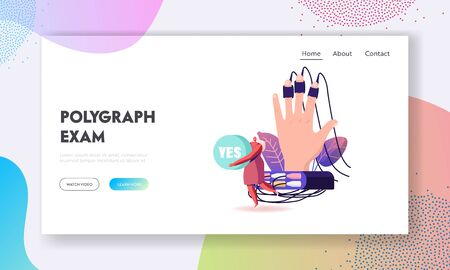Lie Detector Test Landing Page Template. Tiny Female Character Holding Word Yes at Huge Human Hand Connected with Wires to Polygraph Device. Palm with Sensors on Fingers. Cartoon Vector Illustration Illustration