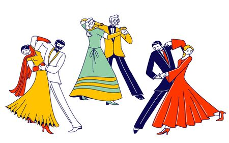 Young and Aged Couples Sparetime with Waltz Dancing, Elegant Characters Active Lifestyle, Men and Women Spend Time Together, Dance Lessons, Leisure or Weekend Hobby. Linear Vector People Illustration