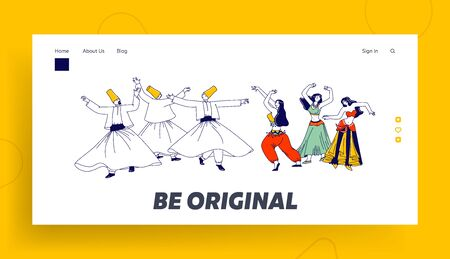 Arabic Dances Landing Page Template. Whirling Dervish and Girls in Traditional Outfits Dancing with Raising Hands. Characters Moving Body, Muslim Artist Hobby. Linear People Vector Illustration