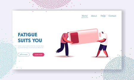 Overload and Poor Life Energy Landing Page Template. Fatigued Businessmen Characters Carry Huge Battery with Low Charging Level. Tired Employees Working from Last Forces. Cartoon Vector Illustration