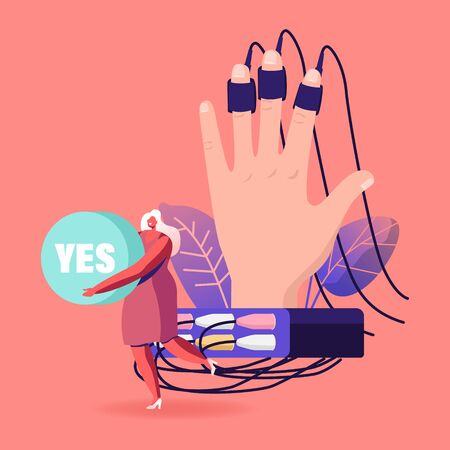 Tiny Female Character Holding Word Yes in Hands Stand at Huge Human Hand Connected with Wires to Polygraph Device. Palm with Sensors on Fingers. Lie Detector Test. Cartoon Vector Illustration