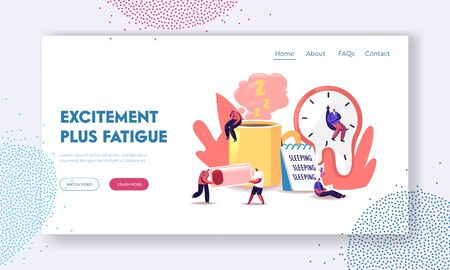 Fatigue Landing Page Template. Tiny Exhausted Characters at Huge Coffee Cup, Liquid Watches of Salvador Dali, Low Battery Power and Sheet with Sleep Writing. Cartoon People Vector Illustration