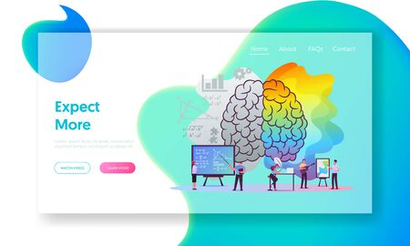 Creative and Logic Thinking Landing Page Template. Tiny Characters at Huge Human Brain Separated on Left and Right Parts, Analytics Logical and Artists Mind. Cartoon People Vector Illustration