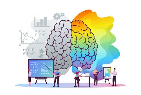 Creative and Logic Thinking Concept. Tiny Male and Female Characters at Huge Human Brain Separated on Left and Right Parts, Analytics Logical and Artists Mind. Cartoon People Vector Illustration