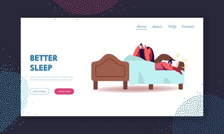 Husband Suffering of Sleeping Wife Snoring Landing Page Template. Female Character Snore at Sleep. Breathing Disease, Asleep Angry Man Cover Ears with Pillow in Bed. Cartoon People Vector Illustration