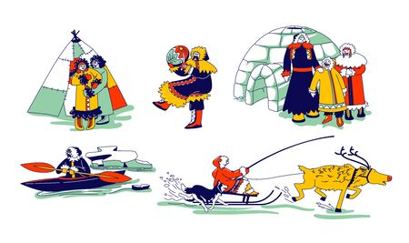 Eskimo Characters in Traditional Clothes and Arctic Animals Deer and Dog. Esquimau Family Mother, Father and Kid. Eskimos People on Kayak, Igloo. Life in Far North. Linear Vector People Illustration