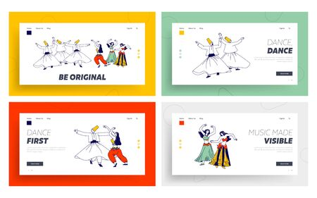 Arabic Dances Landing Page Template Set. Whirling Dervish and Girls in Traditional Outfits Dancing with Raising Hands. Characters Moving Body, Muslim Artist Hobby. Linear People Vector Illustration 向量圖像