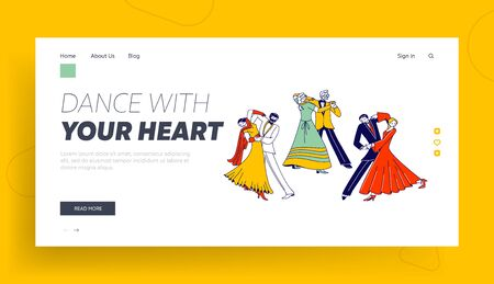 Young and Aged Couples Waltz Dancing Landing Page Template. Characters Active Lifestyle, Men and Women Spend Time Together, Dance Lessons, Leisure or Weekend Hobby. Linear People Vector Illustration
