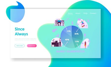 Market Segmentation Landing Page Template. People and Businessmen Characters. Target Audience, Customer Care, Buyers Relationship Management. Selective Focus Infographics. Cartoon Vector Illustration