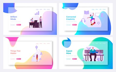 Market Segmentation Landing Page Template Set. People and Businessmen Characters. Target Audience, Customer Care, Buyers Relations Management. Selective Focus Infographics. Cartoon Vector Illustration