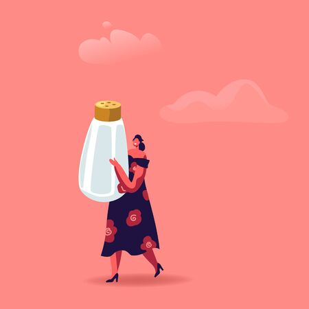 Cute Woman Holding Huge Salt Shaker Isolated on Pink Background. Cooking and Spice Concept. Female Character with Seasoning Ingredient for Food Dish or Drink Tequila. Cartoon Vector Illustration