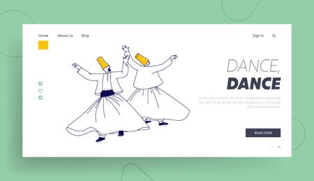 Arab Turkish Dance Landing Page Template. Whirling Dervish Characters in Traditional Outfit Dancing Holy Month of Muslim Community, Ramadan Kareem Celebration. Linear People Vector Illustration