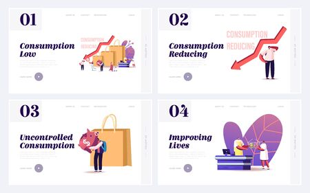 Saving Money Expenses Landing Page Template Set. Tiny Customer Characters Shift Basket of Goods and Services Consumed from Higher-emitting to Lower-emitting Items. Cartoon People Vector Illustration 矢量图像