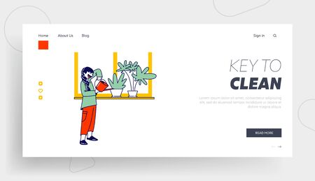 Girl Character Care of Domestic Flower in Pot Landing Page Template. Child Helper Watering Home Plant in Flowerpot on Windowsill from Watering Can. Gardening at Home, Chore. Linear Vector Illustration Vektoros illusztráció