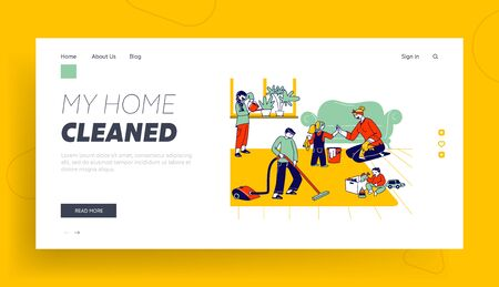 Children Help Mother to Clean Home Landing Page Template. Kids Helpers Characters Household Activity Watering Plants, Vacuuming Floor, Dust. Family Weekend Chores. Linear People Vector Illustration