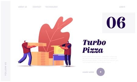 Food Delivery Landing Page Template. Workers Packing and Delivering Pizza Boxes to Customers. Restaurant Shipping Service. Male Characters in Uniform with Packages. Cartoon People Vector Illustration Illusztráció