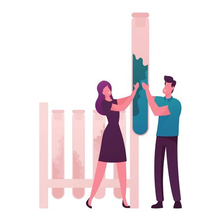 Tiny Male and Female Characters Holding Huge Test Tube with Essential Oil Extract in Lab. Herbal Aroma Therapy Cosmetic Perfumery Production, Floral Toilet Water Fragrance. Cartoon Vector Illustration