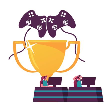 Gamers Sitting at Computer Desktops Playing Interactive Games during Cybersport Tournament. Tiny Male Characters Wear Headset at Huge Golden Trophy Cup and Joystick. Cartoon People Vector Illustration
